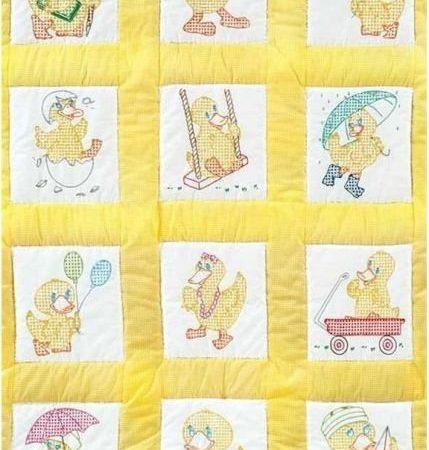 Quiltblokken voor babyquilt Voorbedrukt met baby eenden