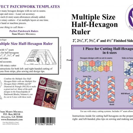 Liniaal Ruler van Marti Michell. Soort: Multiple Size Half-Hexagon Ruler