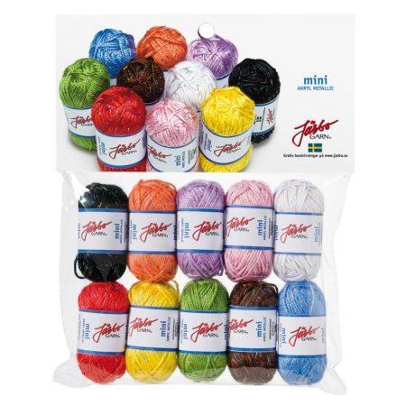 Järbo Mini garenbolletjes Assortiment kleuren Acryl metallic 80504