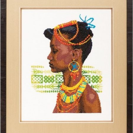 Pako Borduurpakket Aida Afrikaanse vrouw. Mooi borduurpakket