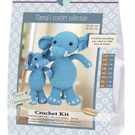 Haakpakket van Go Handmade. Compleet pakket om olifantenmoeder Sara en haar zoon Simba mee te kunnen maken. Afmeting van Sara is 18 cm en van Simba 10 cm.