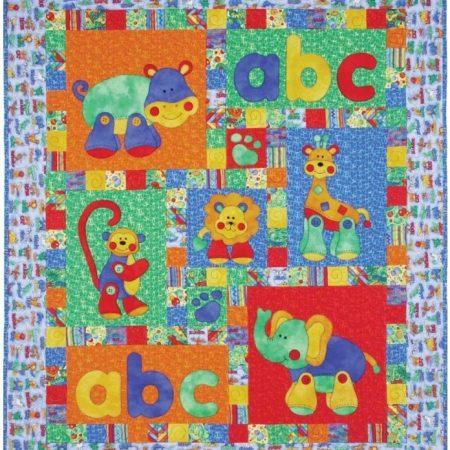 Quiltpatroon van Kids Quilts. Onderwerp: Het jungle alfabet voor kinderen.