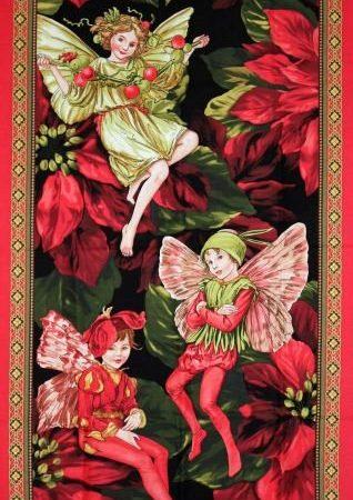Quiltpanel Christmas Fairies. Merk:Michael Miller Fabrics