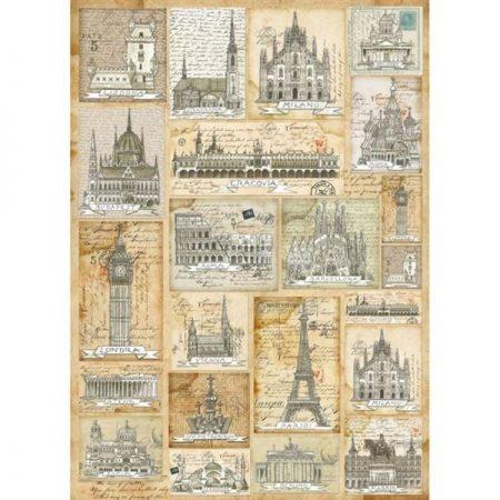 Vilt Decor Old City 18 Afbeeldingen van diverse oude gebouwen