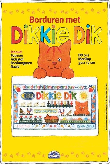 Ongebruikt DMC Borduurpakket Dikkie Dik Aida Geboortetegel Merklap DD011 NG-06