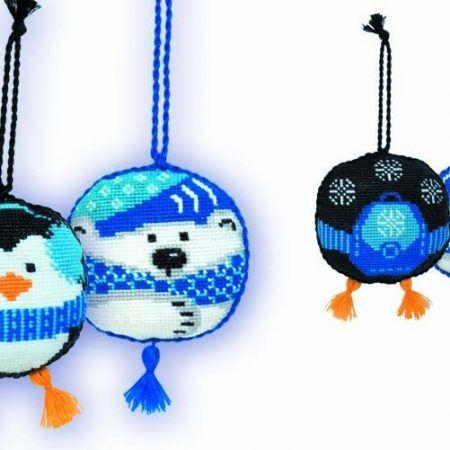 Riolis Borduurpakket Aida Kersthangers The Penguin and the Bear