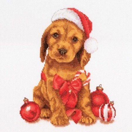 Thea Gouverneur Borduurpakket Aida Christmas Puppy Kerst Puppy 730