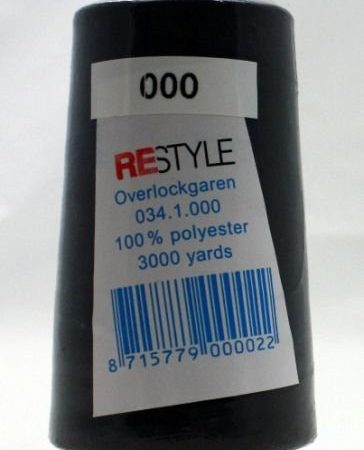 Polyester lockgaren zwart 034.1.000. Polyester. Lengte: 2700 meter