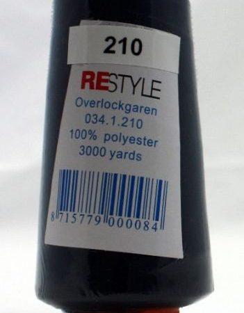 Polyester lockgaren donkerblauw 034.1.210. Lengte: 2700 meter