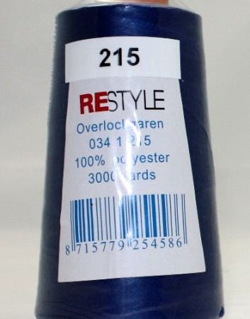 Polyester lockgaren kobalt blauw 034.1.215. Lengte: 2700 meter