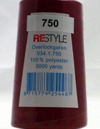 Polyester lockgaren donkerrood 034.1.750. Lengte: 2700 meter