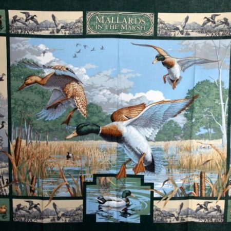 Quiltpanel Mallards in the Marsh. Afmetingen: 120 cm x 90 cm.