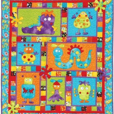 Quiltpatroon van Kids Quilts. Onderwerp: Kleurige lieve monstertjes.