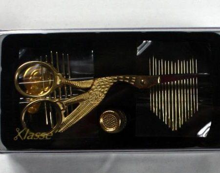 Klasse Ooievaarschaar cadeauset Gold plated. Prachtig cadeau