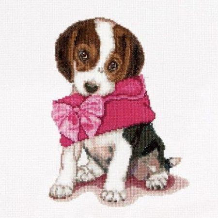 Thea Gouverneur Borduurpakket Aida Puppy Love Puppy Liefde 732