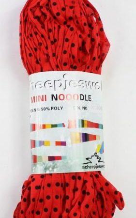 Mini Nooodle Print Scheepjeswol Rood met zwarte stip nummer 999
