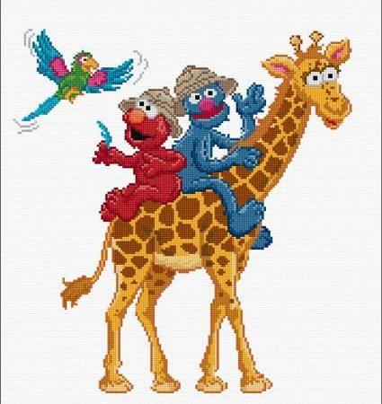 Thea Gouverneur Borduurpakket Aida Safari Elmo en Grover 762