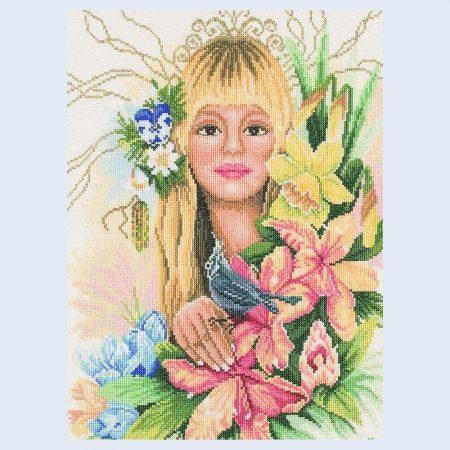 Lanarte Maria van Scharrenburg Borduurpakket Katoen Spring Flower Girl