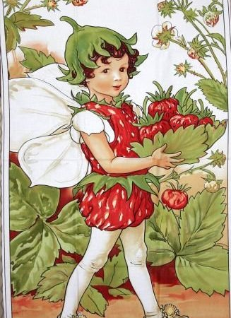 Quiltpanel Strawberry Fairie. Uit de Flower Fairies serie
