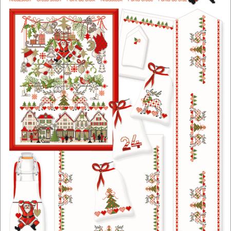 Borduurpatroon van Lindner. Titel: Weihnachtsmarkt. Kerstmarkt 046