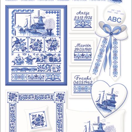 Borduurpatroon Lindner. Onderwerp: Klassisch Blau. Klassiek Blauw 048