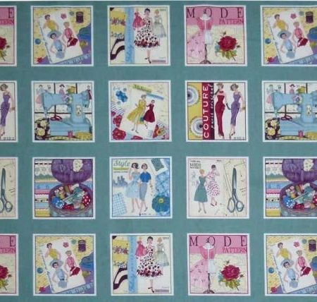Quiltstof katoen Sew Retro 9 SQ Labels 1101 / 1. Merk: Makower UK Craft