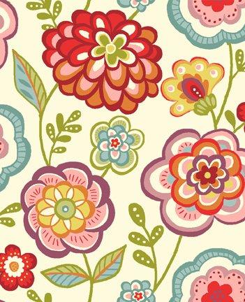 Quiltstof katoen Deco Flowers bloemen op ivoor basis 1142/Q