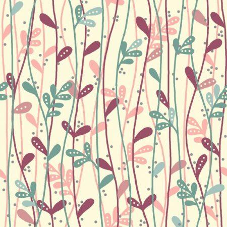 Quiltstof katoen Deco Flowers roze/blauw blad op ivoor basis