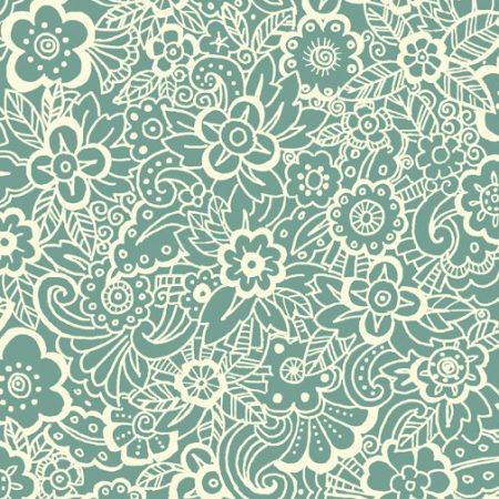 Quiltstof katoen Deco Flowers bloemen blauw. Verkoop per 25 cm