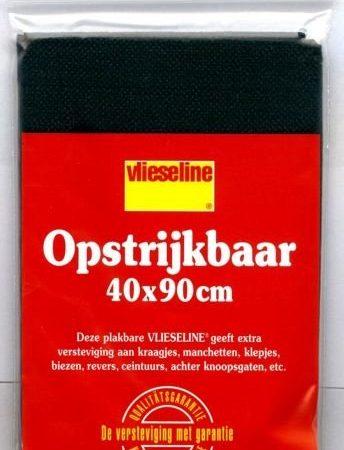 Plakvlieseline zwart voorverpakt. Afmetingen: 40 x 90 centimeter.