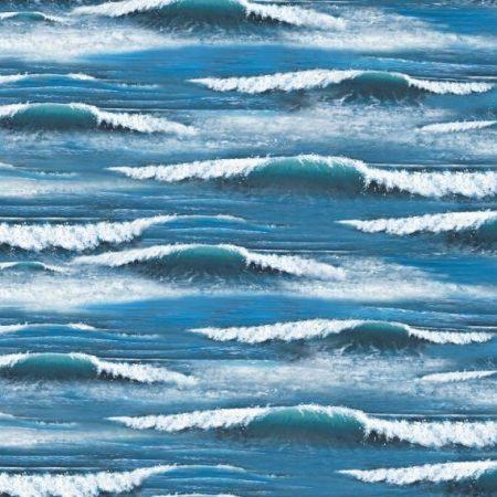 Quiltstof katoen Water met golven. Verkoop per 25 cm