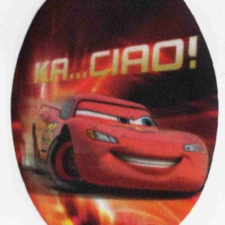 Strijkapplicatie geprint ovaal van Cars auto Lightning Mc Queen