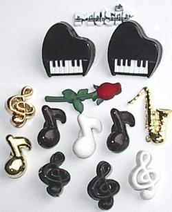 Dress it UP Assortiment quiltknoopjes Music Muziek 0340