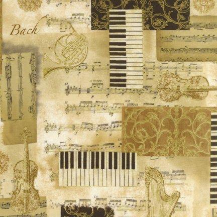 Quiltstof katoen All that Jazz metallic 13627 patch bruin. Robert Kaufman