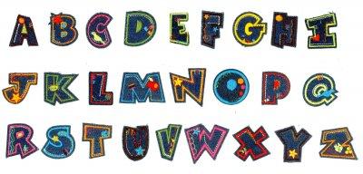 Alfabet Jeans Strijkapplicaties