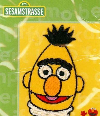 Strijkapplicatie. Sesamstraat. Geborduurd. Het hoofd van Bert.
