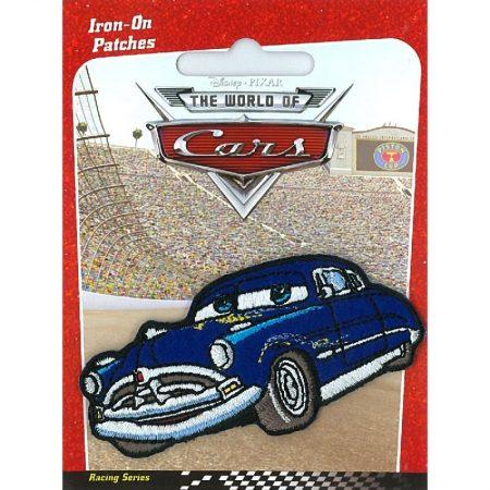Strijkapplicatie Cars. Doc Hudson blauw 009. Blauwe auto World of Cars