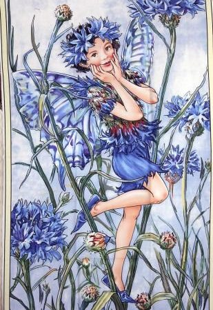 Quiltpanel Cornflower Fairie. Uit de Flower Faries serie