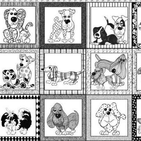 Quiltstof katoen Doggie Dear Lieve Honden. Verkoop per 60 cm