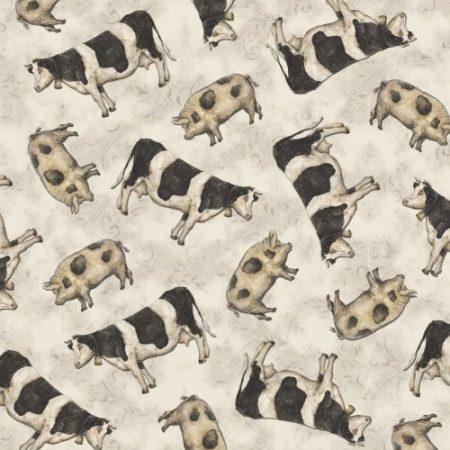 Quiltstof katoen koeien en varkens. Merk: Windham Fabric