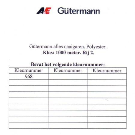 Gütermann naaigaren 1000 meter. Rij 2. Naaigaren van hoge kwaliteit