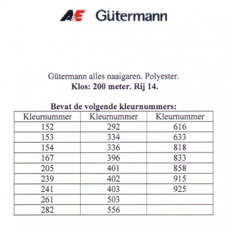 Gütermann naaigaren 200 meter. Rij 14. Naaigaren van hoge kwaliteit
