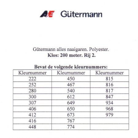 Gütermann naaigaren 200 meter. Rij 2. Naaigaren van hoge kwaliteit