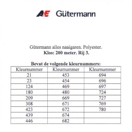 Gütermann naaigaren 200 meter. Rij 3. Naaigaren van hoge kwaliteit