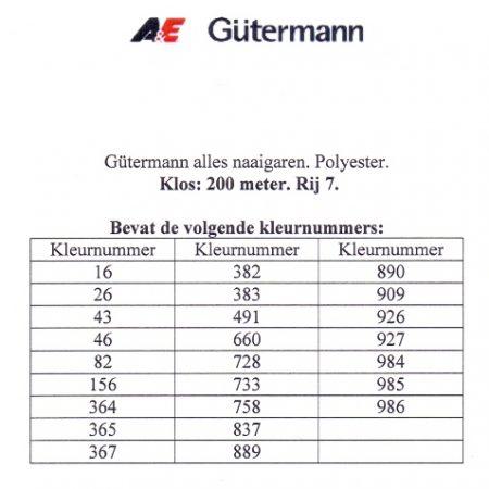 Gütermann naaigaren 200 meter. Rij 7. Naaigaren van hoge kwaliteit.