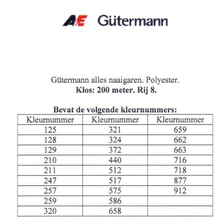 Gütermann naaigaren 200 meter. Rij 8. Naaigaren van hoge kwaliteit