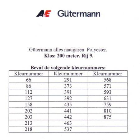 Gütermann naaigaren 200 meter. Rij 9. Naaigaren van hoge kwaliteit