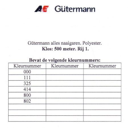 Gütermann naaigaren 500 meter. Rij 1. Naaigaren van hoge kwaliteit