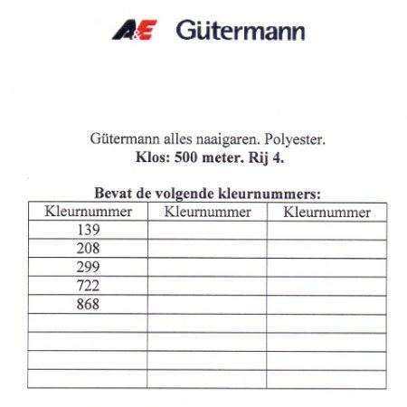 Gütermann naaigaren 500 meter. Rij 4. Naaigaren van hoge kwaliteit