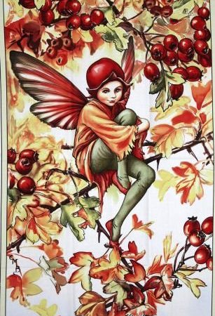 Quiltpanel Hawthorn Fairies. Uit de Flower Fairies serie